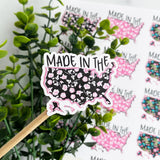 Made in the USA Floral Sticker