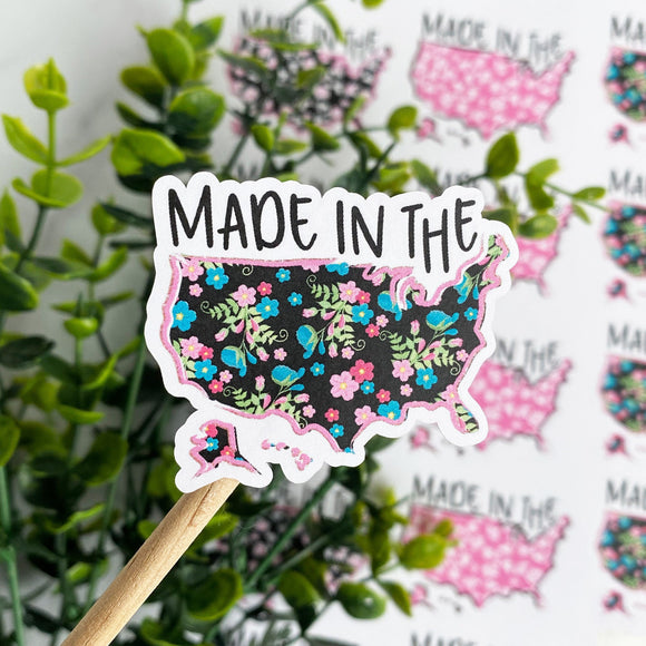 Made in the USA Floral Sticker, USA Sticker, Made in the US, American Made, Etsy Sticker, Small Shop Sticker, Small Business, Happy Mail