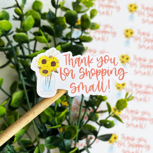 Thank You Sunflower Jar Sticker