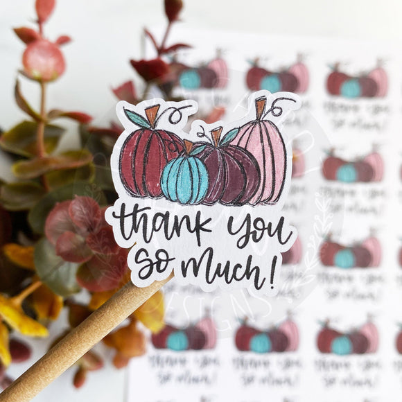 Thank You So Much Colorful Pumpkin Sticker