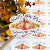 Thank You For Shopping Small Pumpkin Sticker, Fall Sticker, Autumn Sticker, Small Shop, Small Business, Etsy Sticker, Handmade, Happy Mail