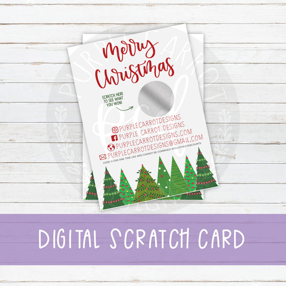 Christmas Scratch Card, Christmas Tree, Scratch and Win, Custom Thank You Card, Prize, Discount Card, Small Shop Supplies