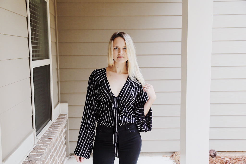 Black & White Stripe Body Suit