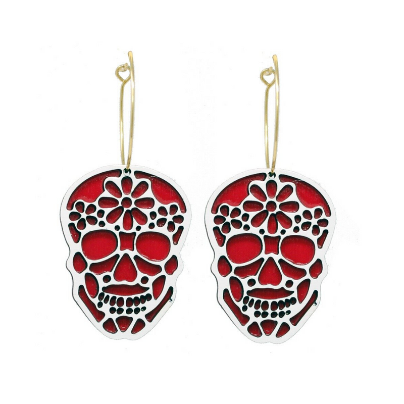 Red Sugar Skull Hoop Earrings