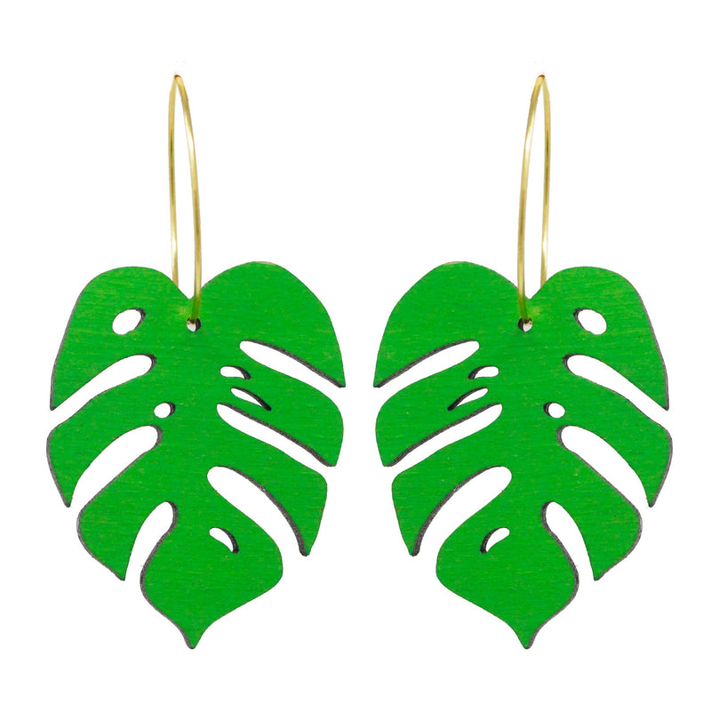 Monstera Leaf Hoop Earrings