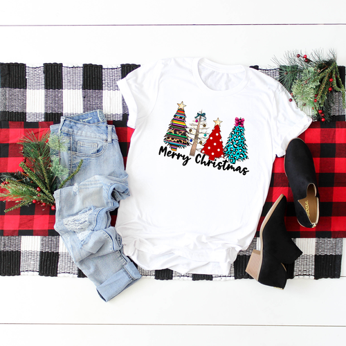 Serape & Leopard Christmas Tree Graphic Tee