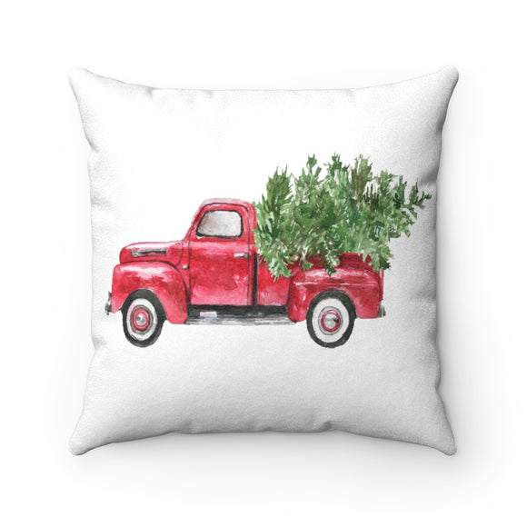 Watercolor Christmas Red Truck Tree Pillow Case