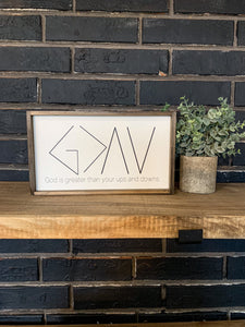 God is Greater Than Your Ups and Downs; Saddle Up; Christian; Teacher Wood Sign