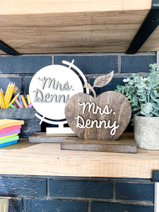 Personalized Teacher Name Wood Cut Out Apple or Globe Symbol
