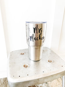 Teacher Icon, Custom Name, Stainless Steel Travelers Tumbler, Mug