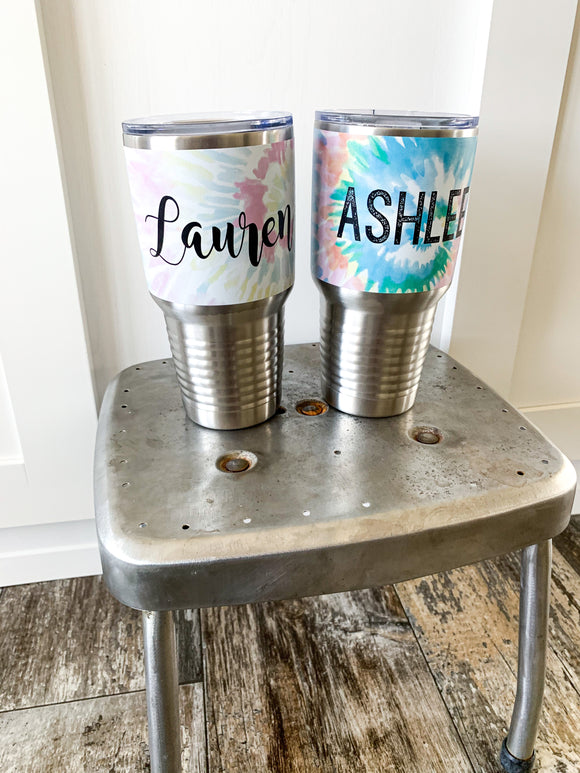 Tie Dye Personalized Stainless Steel Travelers Mug
