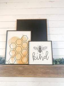 Bee Kind; honeycomb; Spring yellow farmhouse wood sign