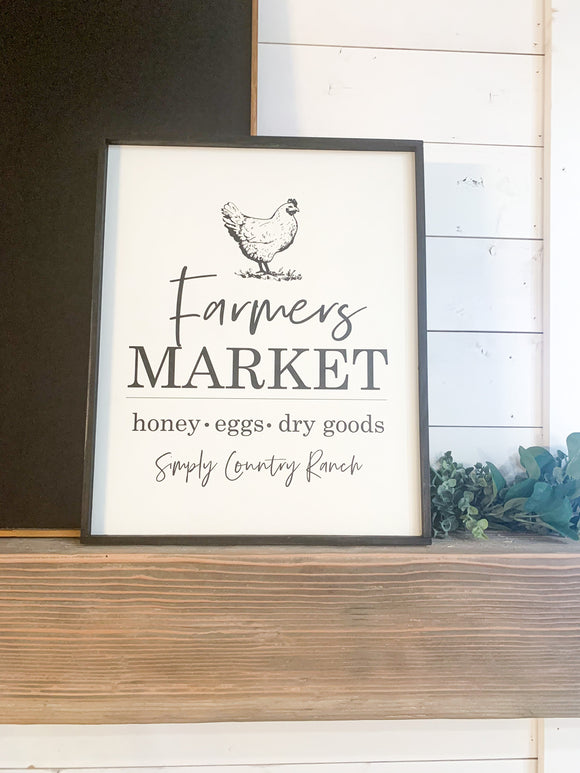 farmers market chicken spring wood farmhouse sign