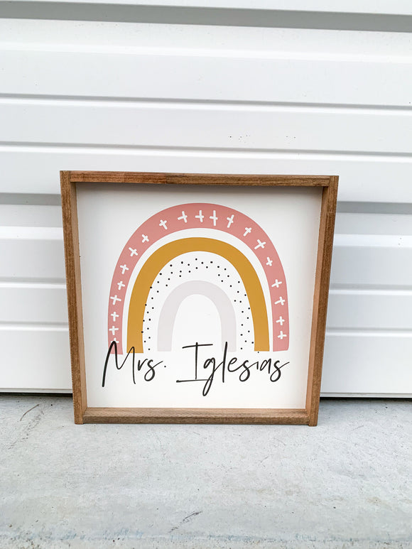 boho rainbow classroom teacher name sign