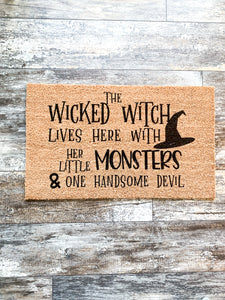 Wicked Witch Monsters Handsome Devil Live Here; Halloween; October; Welcome Mats; Front Door Porch Mat; Funny Mat Signs; Welcome Mats