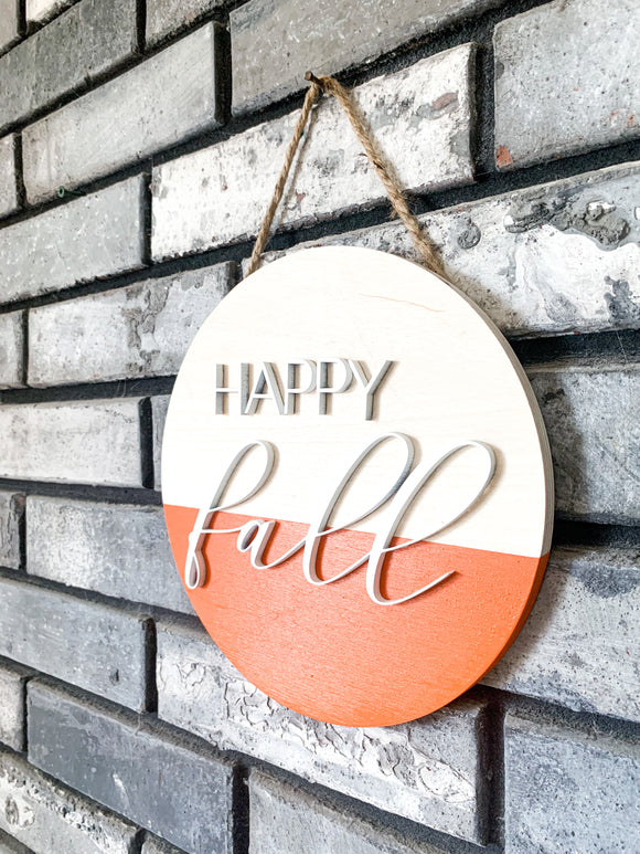Hello Fall Raised Letter 3d Orange Modern Farmhouse Circle Autumn