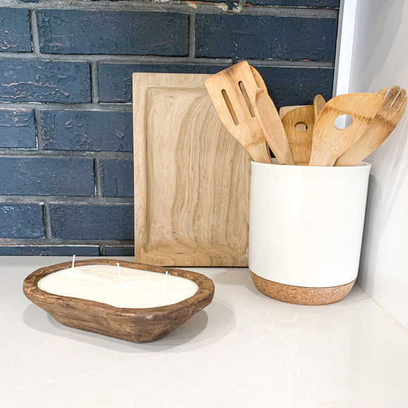 Hand-carved Wood Dough Bowl with three wick unscented candle