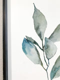 Watercolor Greenery leaves, stems, clipart, bathroom decor, wood framed sign, eucalyptus leaf
