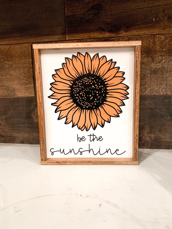 Be The Sunshine Sunflower Wood Sign