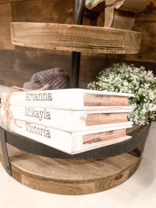 Mini Wood Stacked Books; Made to look like Books; Tiered Shelf Decor; Custom words