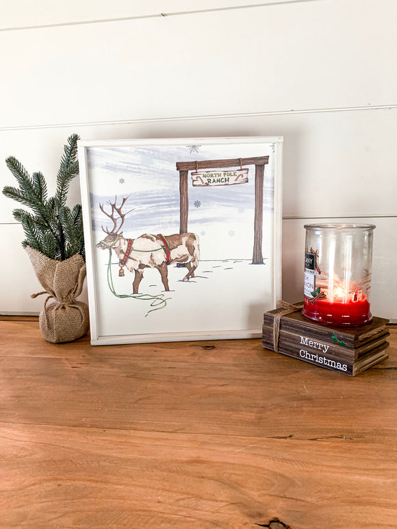 Hand drawn reindeer winter scene wood Christmas sign