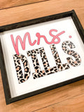 Personalized Leopard Teacher Name Wood Sign