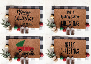 Christmas Door Mat; Holly Jolly; Filthy Animal; Red Truck