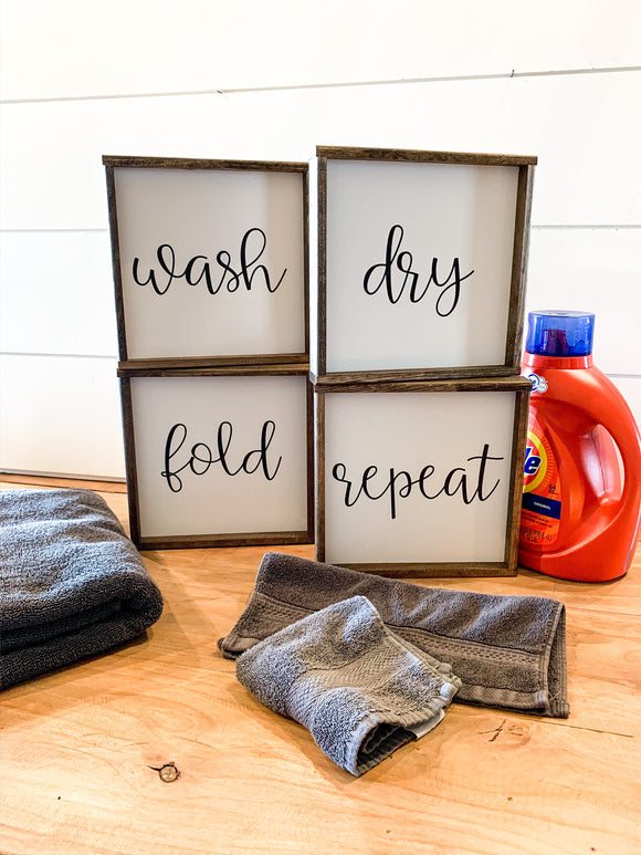 wash dry fold repeat laundry room signs