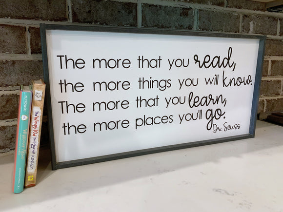 The More you Read; the More you Know; Classroom Library; teacher sign; classroom decor