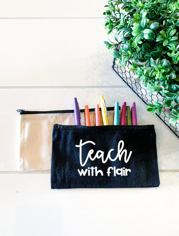 Teach With Flair; Personalized Teacher Zipper Pouch; Pencil Bag; Makeup Bag; Essential Oil