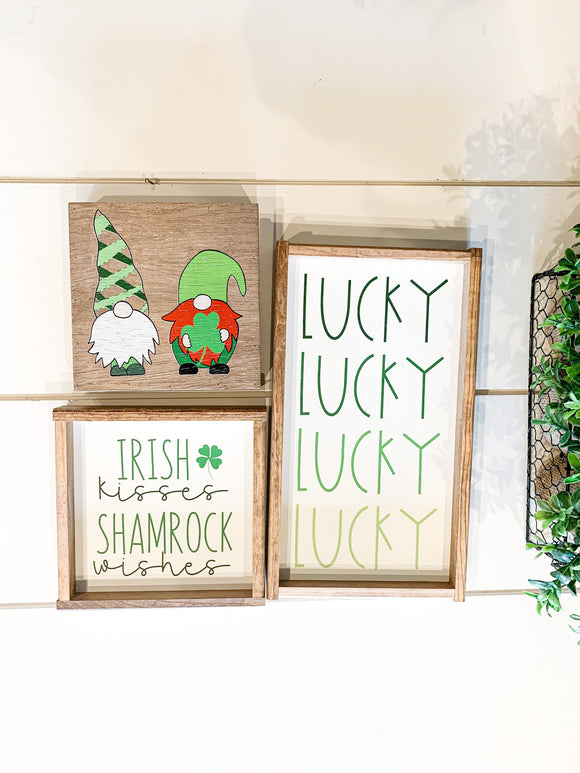 lucky; irish gnomes; irish kisses; shamrock wishes; ombre; st patricks day decor
