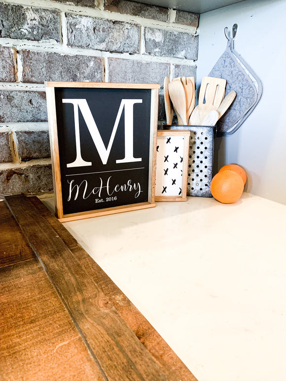 Monogram letter family name sign wood sign