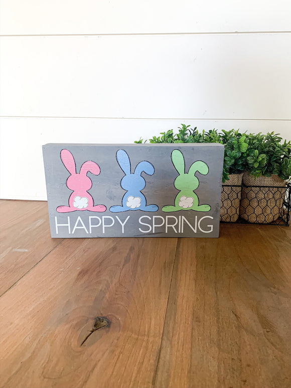 Happy Spring Pastel Bunnies Sign; Easter Bunny