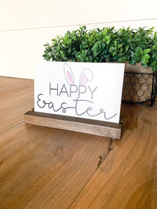 Happy Easter Removable shelf sitter Sign; Easter Bunny
