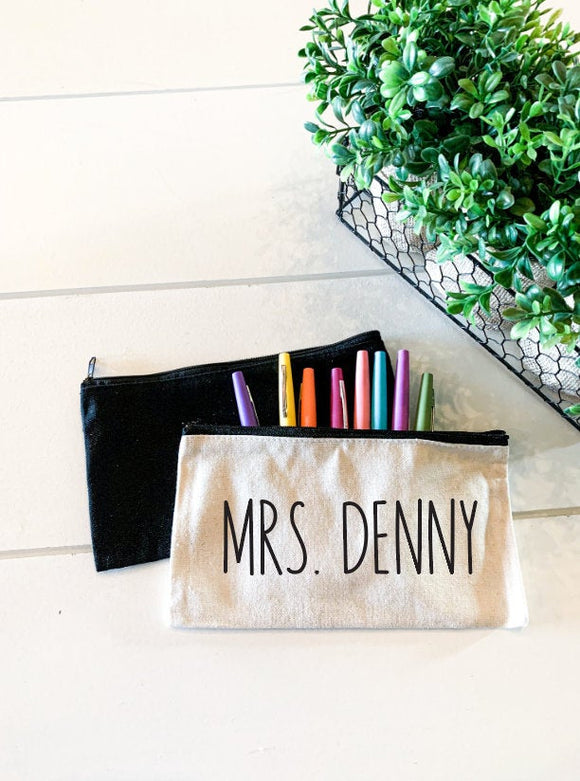 Teacher Name; Personalized Teacher Zipper Pouch; Pencil Bag; Makeup Bag; Essential Oil