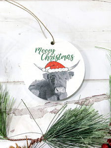 Mooey Christmas; Highland Cow; Circle Photo Wood Ornament; Holiday; Christmas; Gift