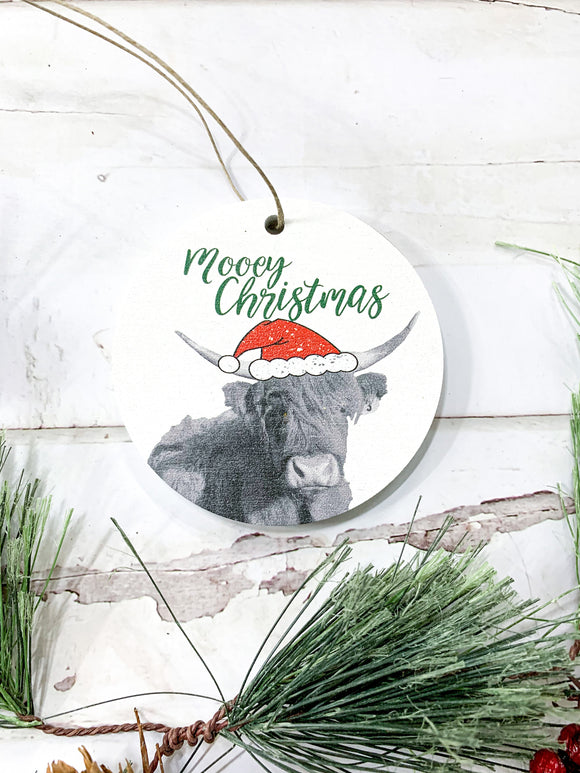 Mooey Christmas; Highland Cow; Circle Photo acrylic  Ornament; Holiday; Christmas; Gift