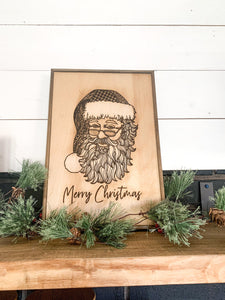 Wood Carved Santa Claus Merry Christmas Wood Farmhouse Sign