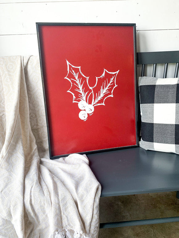 Red and white Holly Mistletoe Large Wood Sign Mantle layering sign