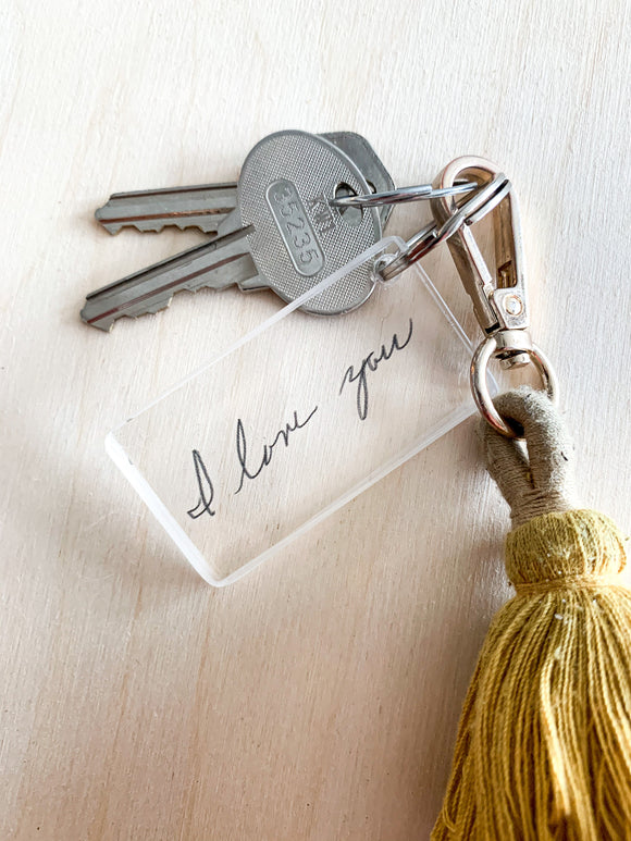 Your handwritten Family Note on Acrylic Keychain; Kid Drawing; Mothers Day; Letter; Custom; personalized; Acrylic;