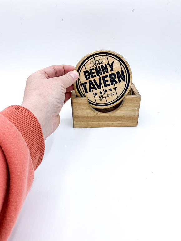 Customized Wood Coasters in Wood Box Holder; custom; jeep, hunting; state; monogram; tavern; bar; whiskey; beer;