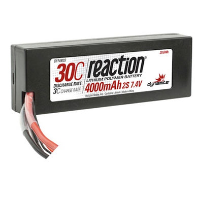Dynamite DYN9003EC Reaction LiPo Battery 7.4V 4000mAh 2S 30C Battery Hard Case: EC3 Plug