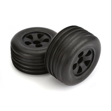 ECX ECX1009 Mounted  Front Rib Tires (2) Black Wheels: 1/10 Circuit
