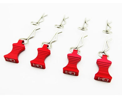Hot Racing AC03EZ02 1/10 Red Aluminum Ez Pulls (4) Body Clips (8)