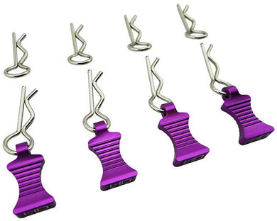 Hot Racing AC03EZ07 1/10 Purple Aluminum Ez Pulls (4) Body Clips (8)