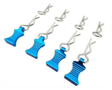 Hot Racing AC03EZ16 1/10 Light Blue Aluminum Ez Pulls (4) Body Clips (8)