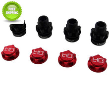 Hot Racing NRO10W02 Hex Adapter 17mm +5mm Extensions w/Nuts Red(4)