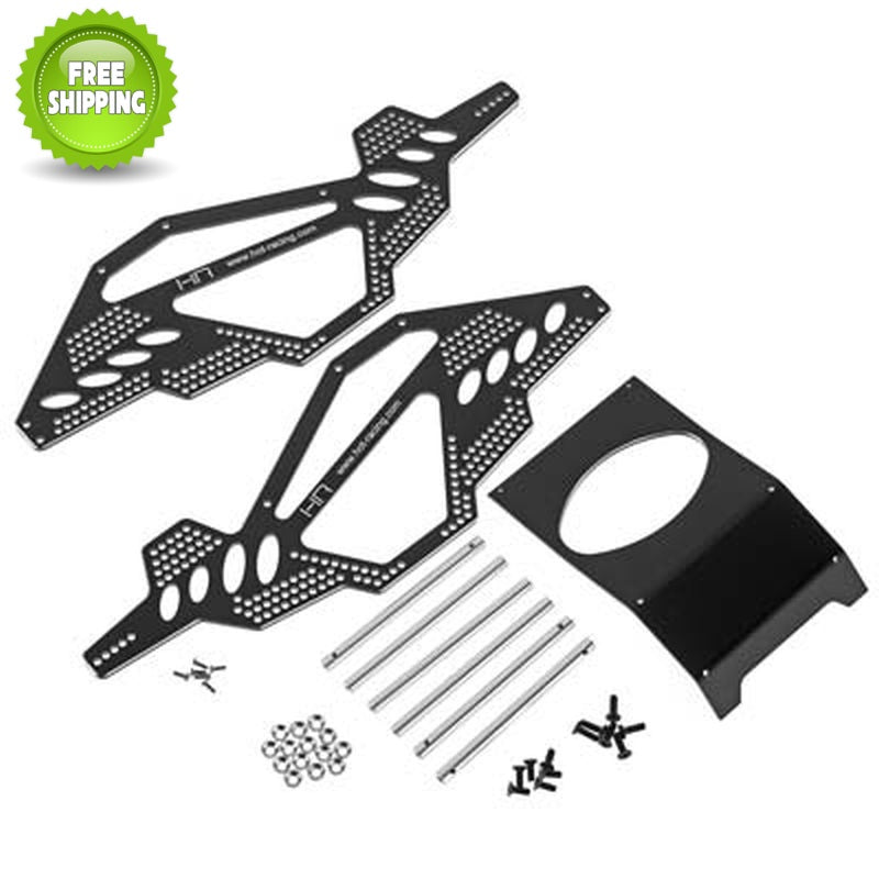 Hot Racing SCP14RR01 Aluminum Rock Racer Conversion Chassis, Black: Axial AX10