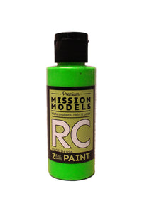 Mission Models MMRC-048 Water-Based Paint, 2oz Bottle, Flourescent Racing Grenn
