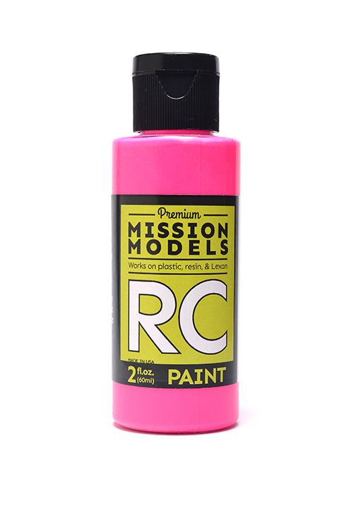 Mission Models MMRC-051 Water-Based Paint, 2oz Bottle, Fluorescent Racing Pink